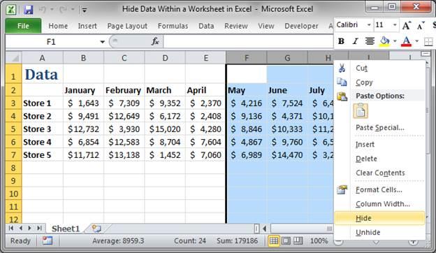 2010 Hide Column Macros Excel