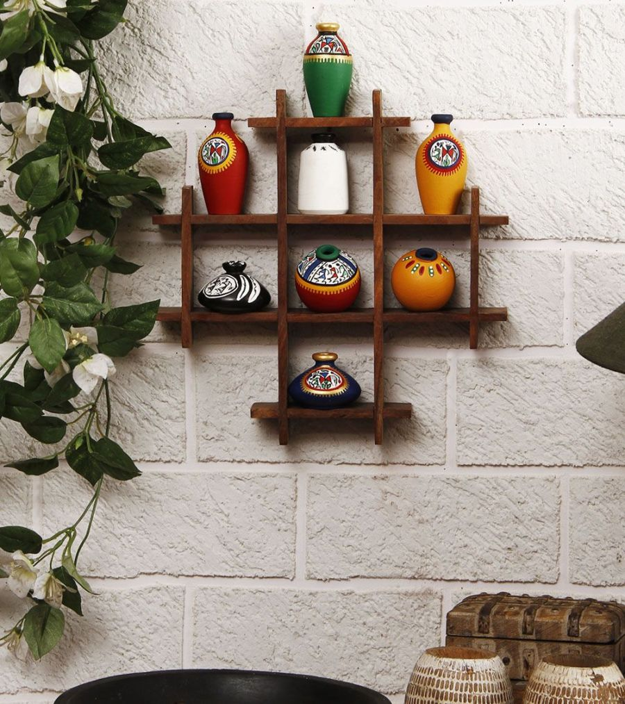 The Framed Pots' Wooden Wall Shelf With Warli Hand-Painted Miniature Pots