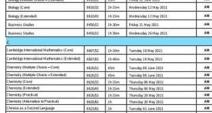 O Levels/IGCSE Exams Updated Time Table for Pakistani Students May June 2021 – Reformated Version