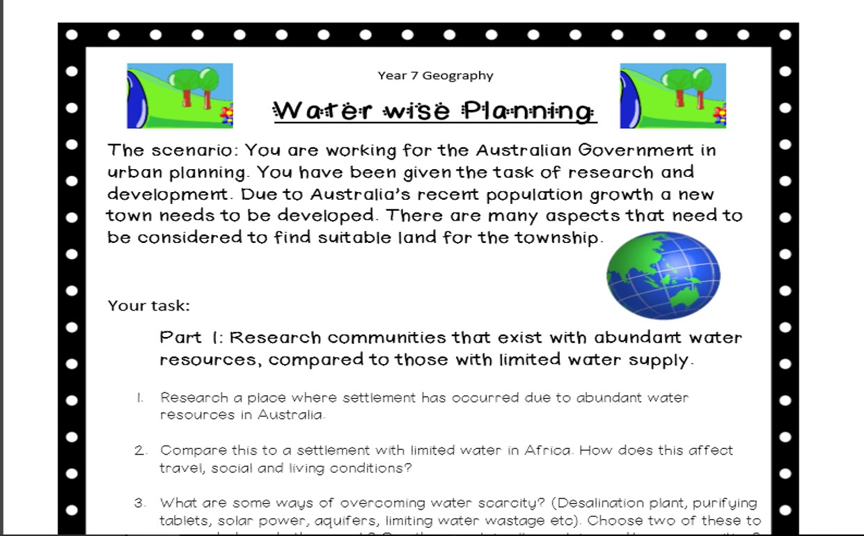 Water Wise Town Planning Project Year 7 Geography Australian Curriculum