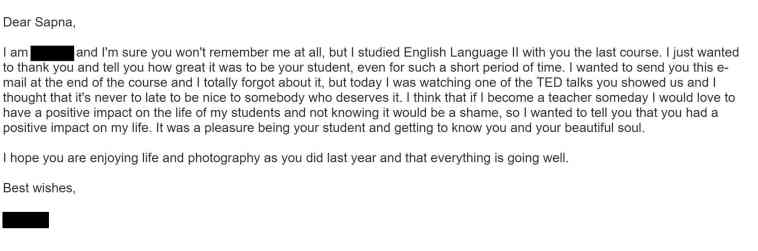 Email from student