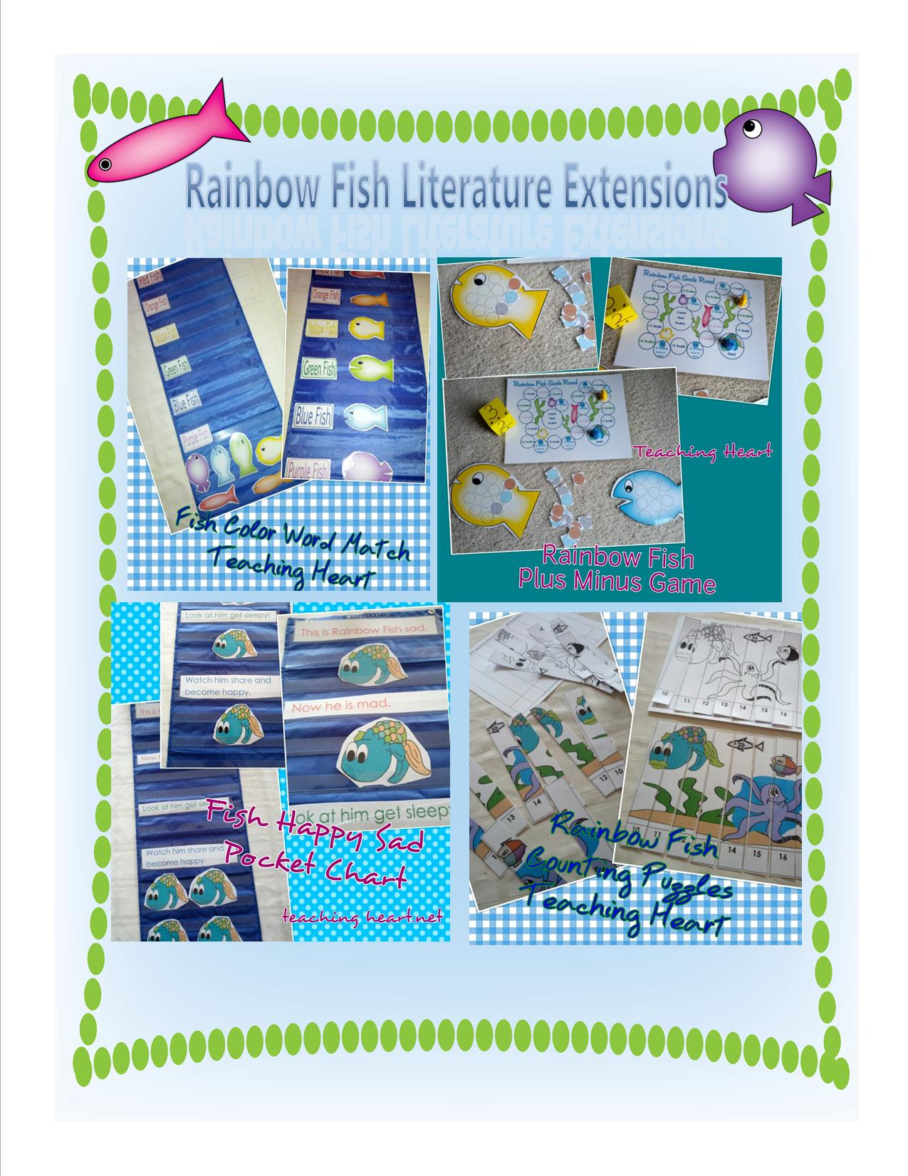 Rainbow Fish Literature Extensions For Math Reading Games Centers Crafts