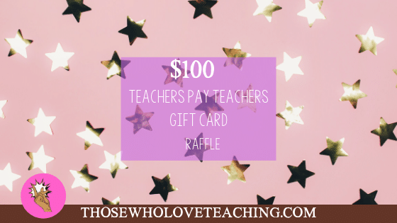 $100 Teachers Pay Teachers Gift Card Giveaway