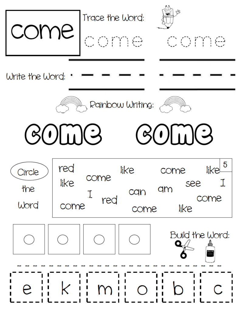 Come Sight Word Practice Page