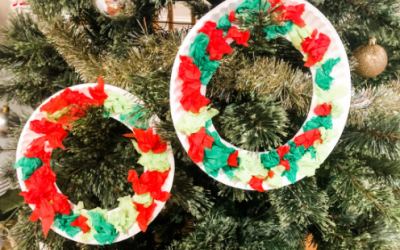 Christmas Tissue Paper Wreathe Fine Motor Activity
