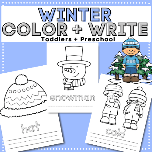 Download these no- prep, free winter printable coloring, tracing, copying, and writing activity worksheets for your toddlers and preschoolers