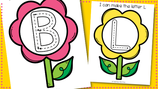 Free Spring Flower Tracing Letters Printable for Toddlers and Preschoolers