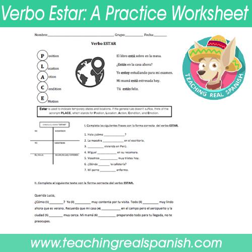 Verbo Estar A Practice Worksheet Teachingrealspanish