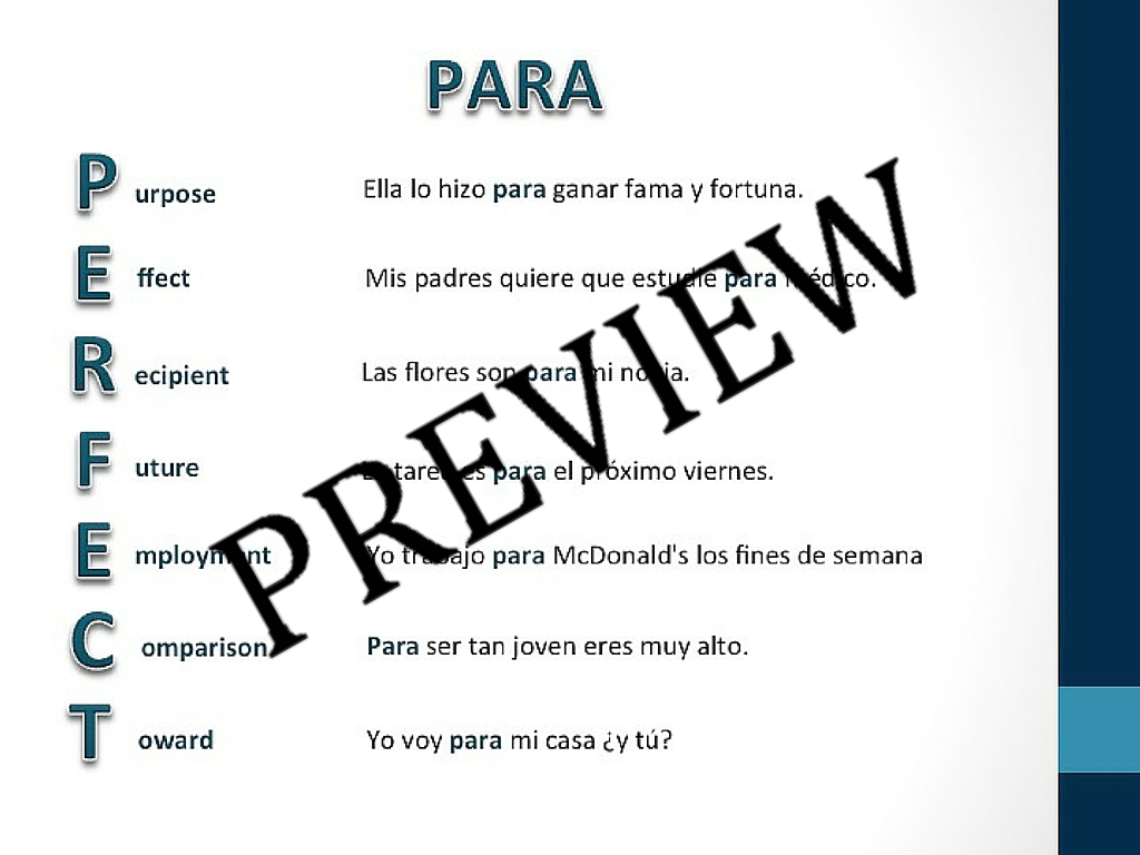 Por Vs Para Powerpoints Amp Practice Sheets Teachingrealspanish