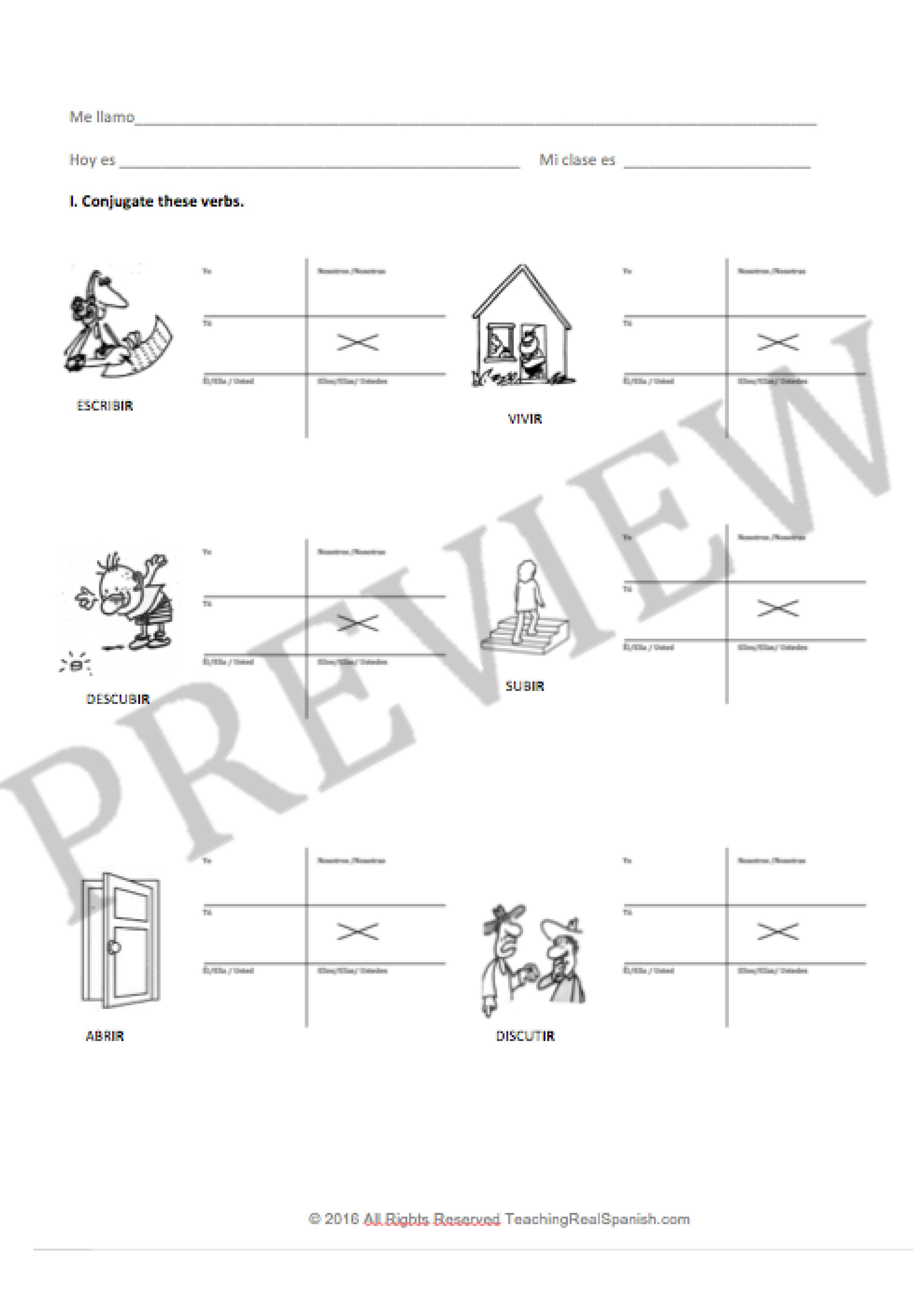 Ir Verb Worksheets Regular Simple Present Teachingrealspanish