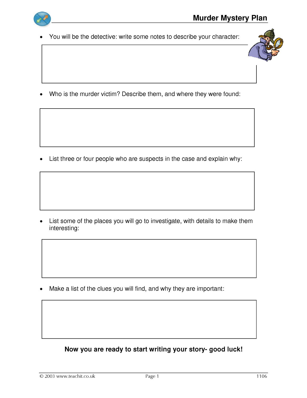 Mystery Story Writing Worksheets