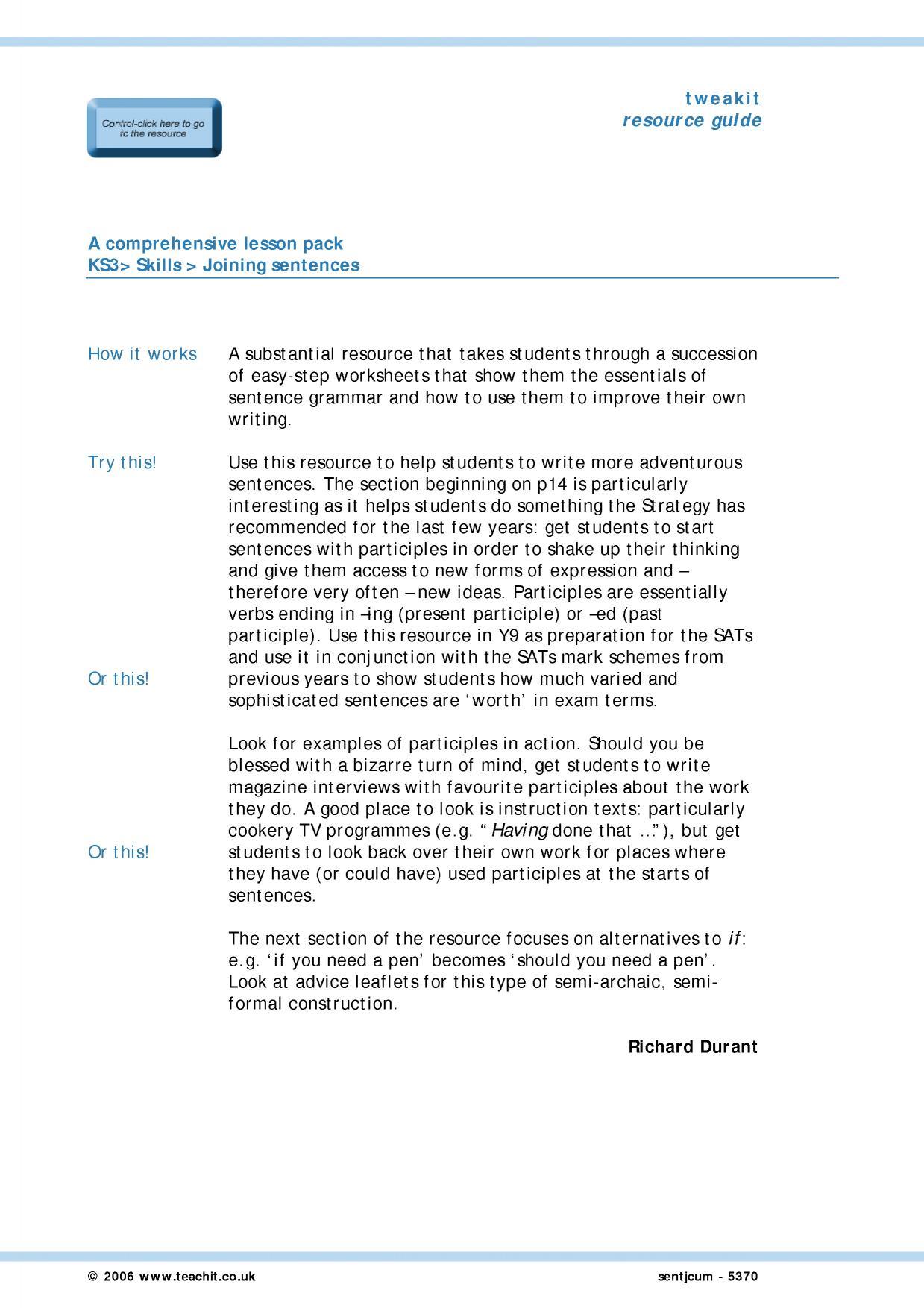 Up Levelling Sentences Ppt Presentation