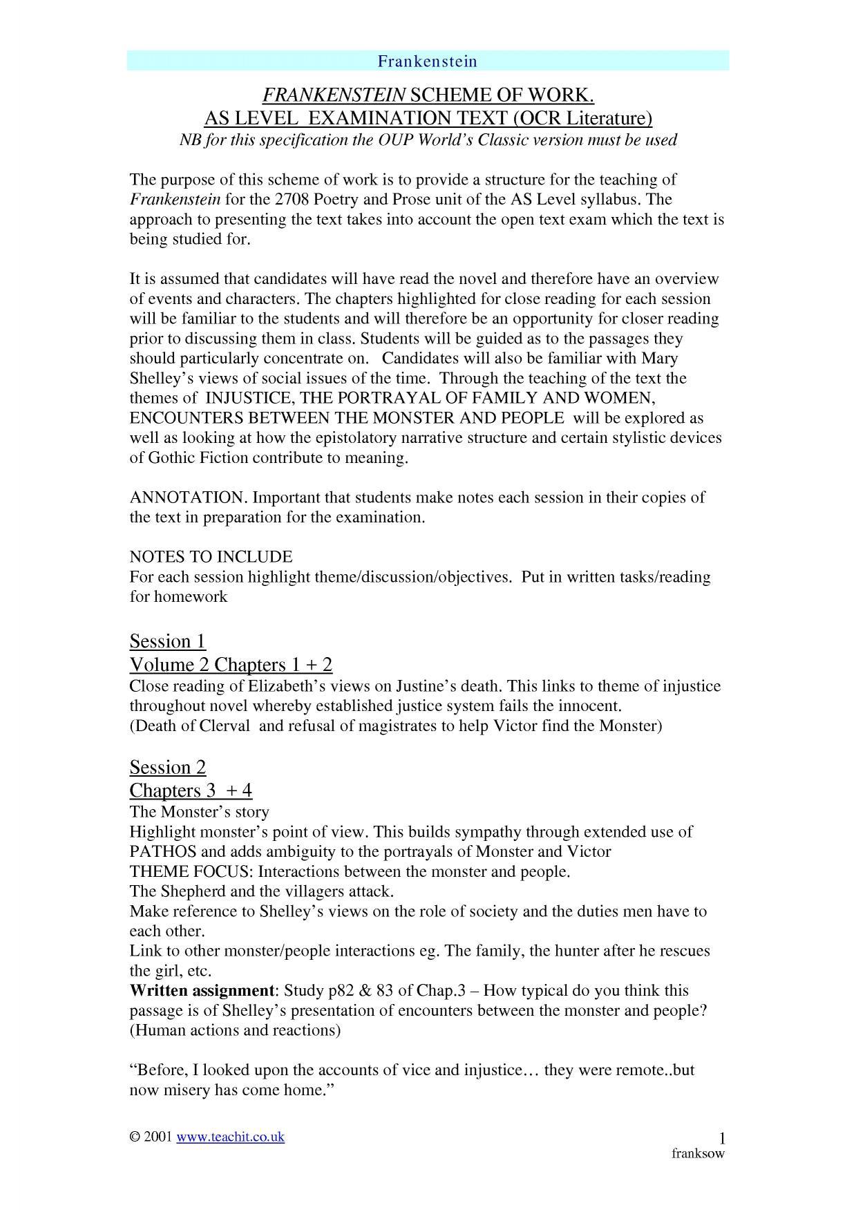 Frankenstein By Mary Shelleyysis Essay