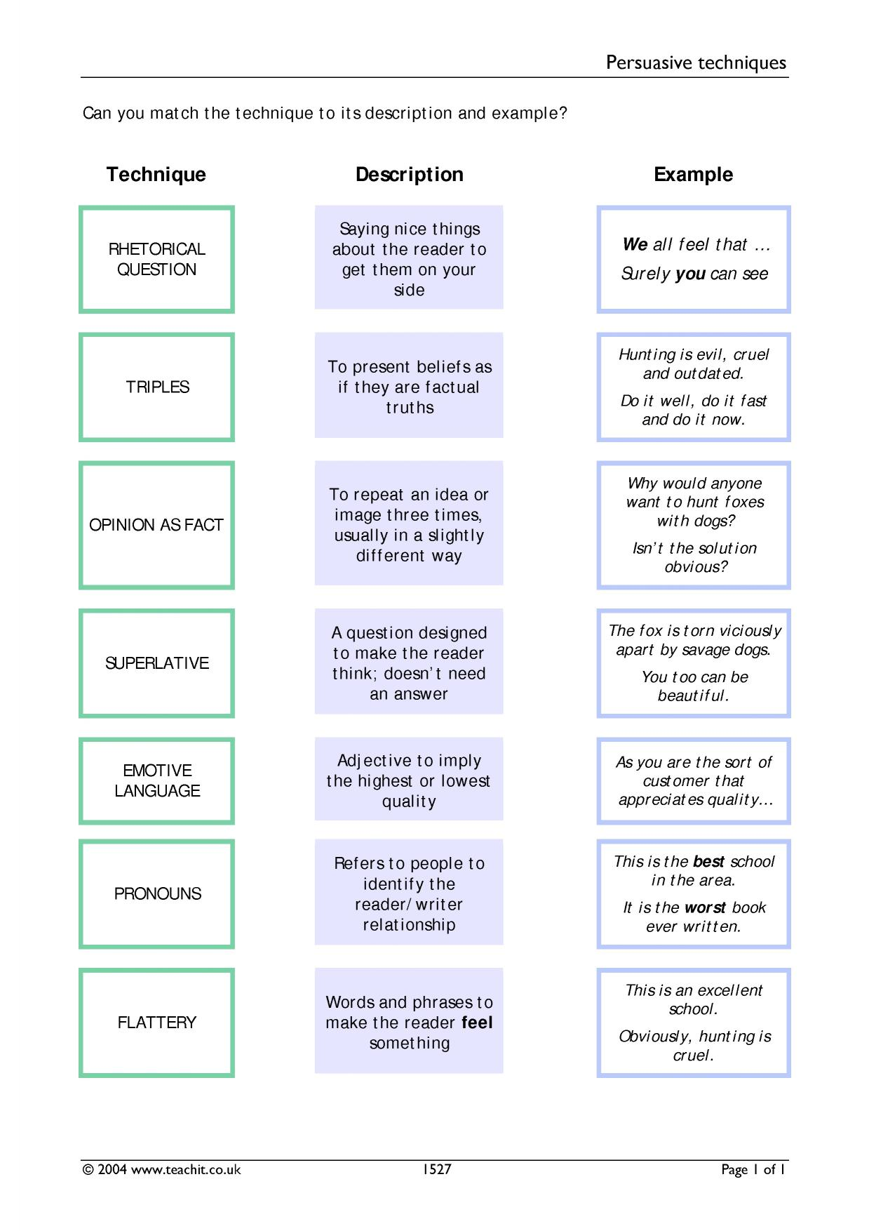 Argument And Persuasive Writing