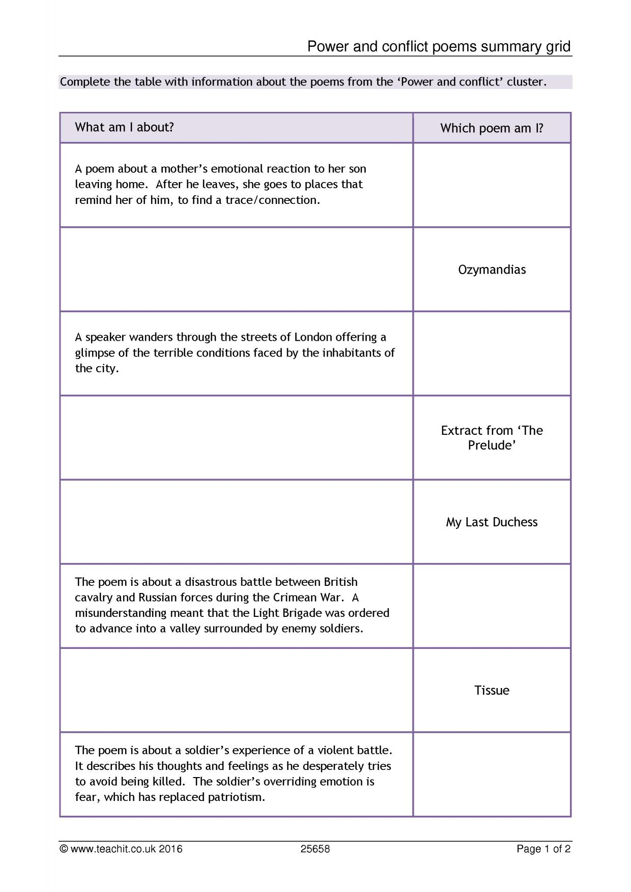 Power And Conflict Poems Summary Grid