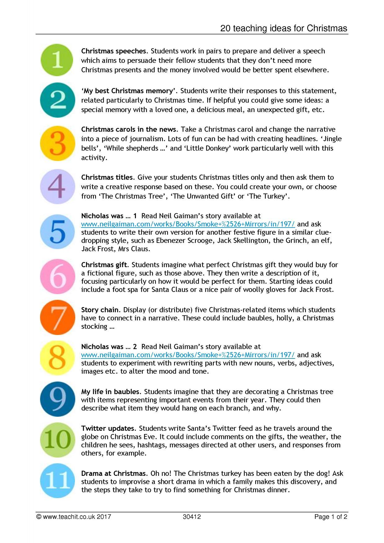 20 Teaching Ideas For Christmas