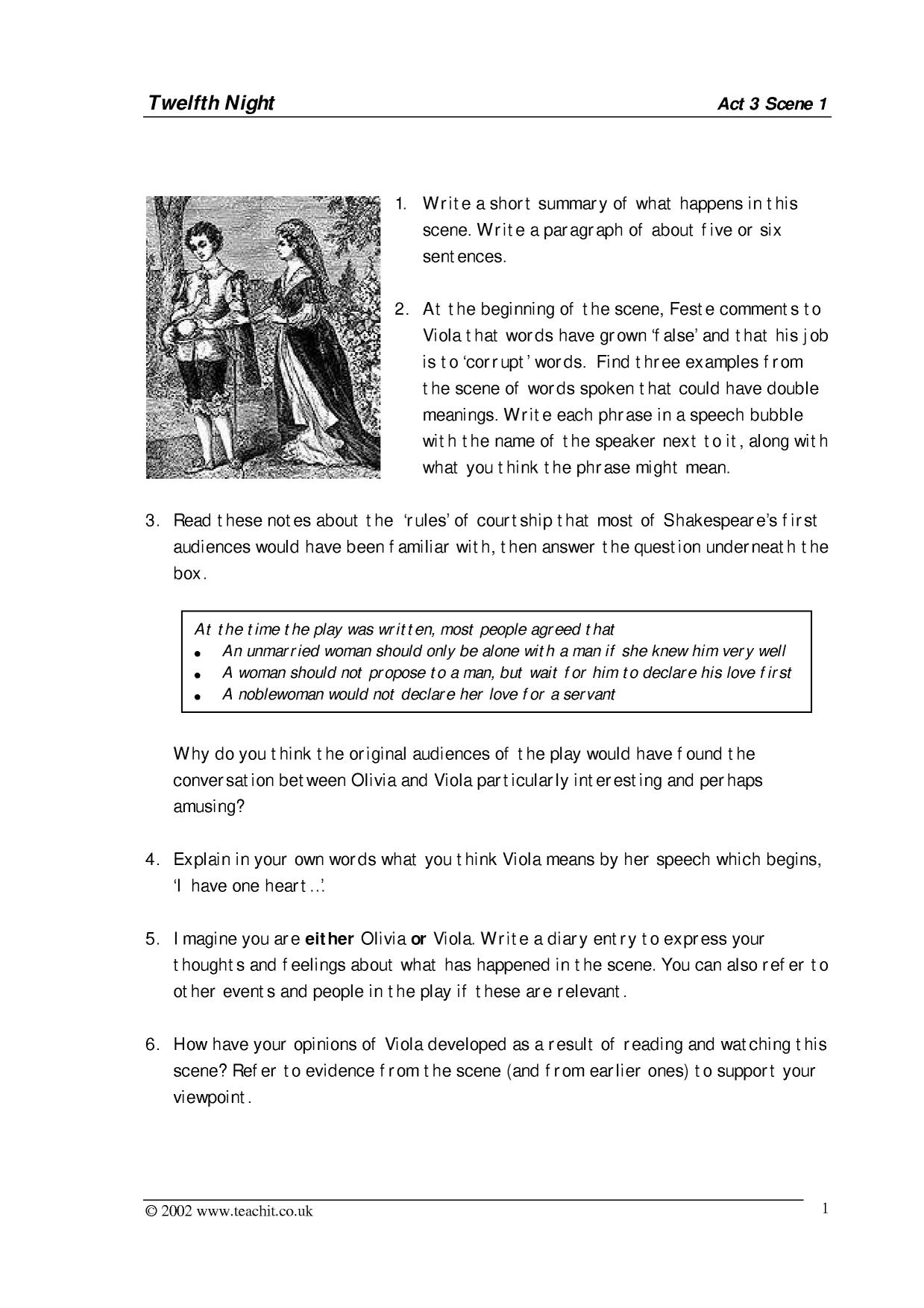 Act 1 Character Identification Worksheet