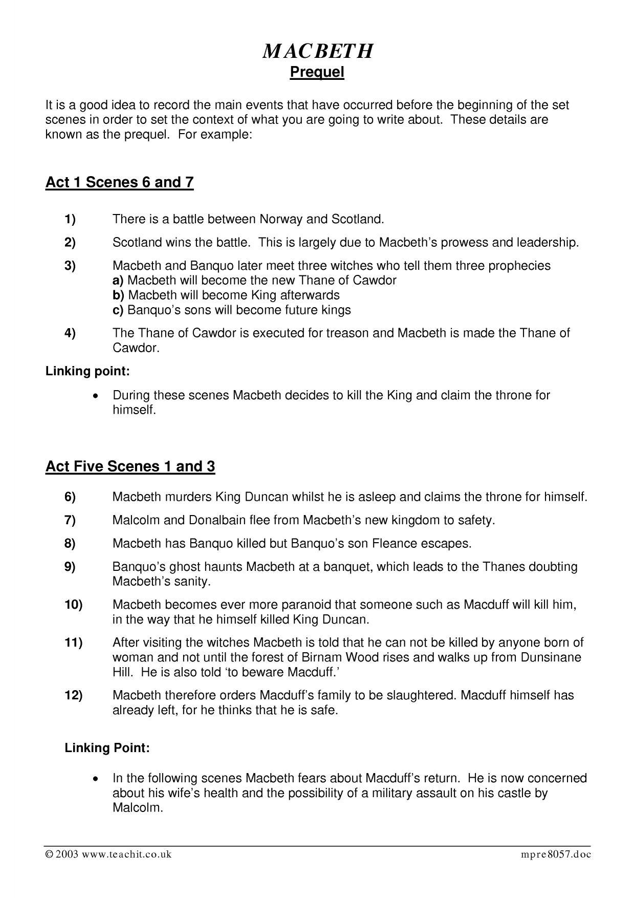 Ks3 Plays Macbeth