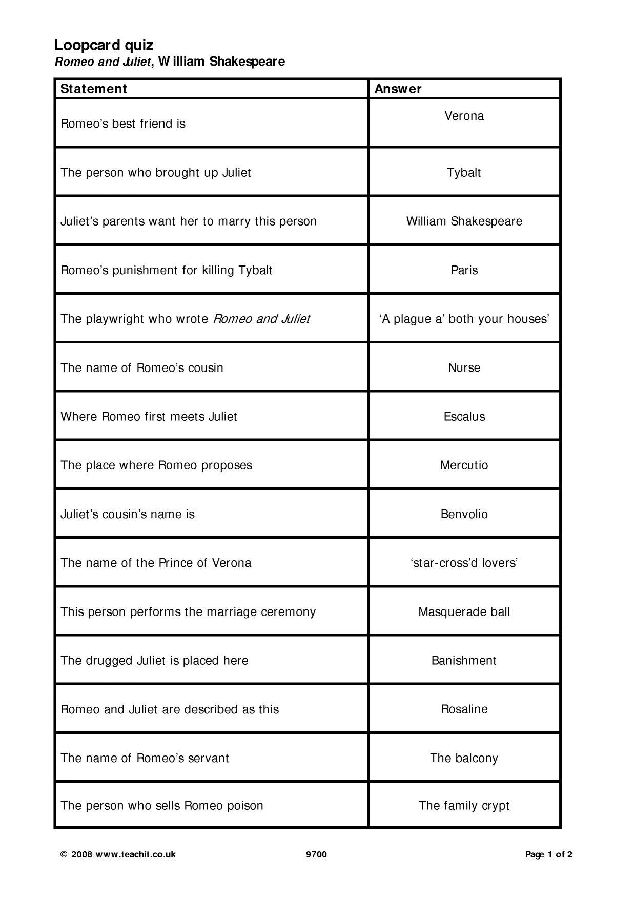 Said Dead Worksheet