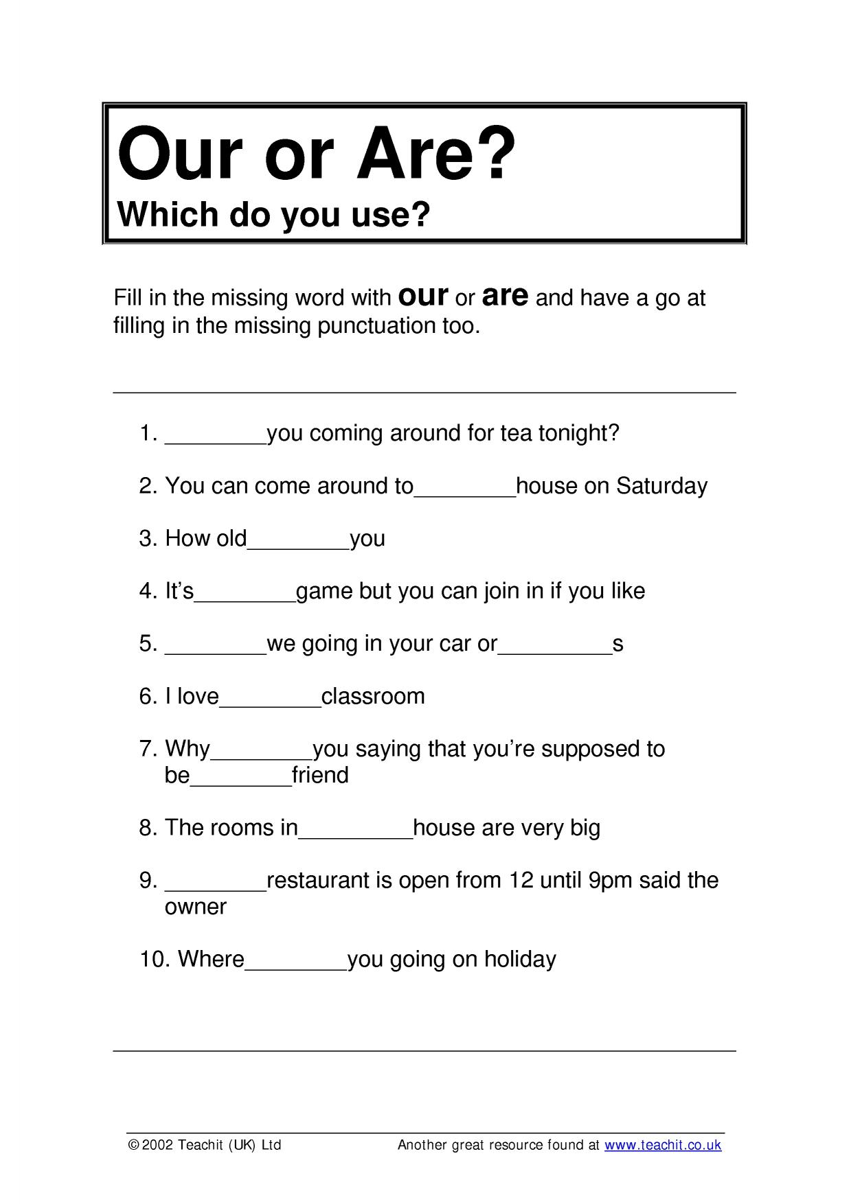 Year 7 English Worksheets