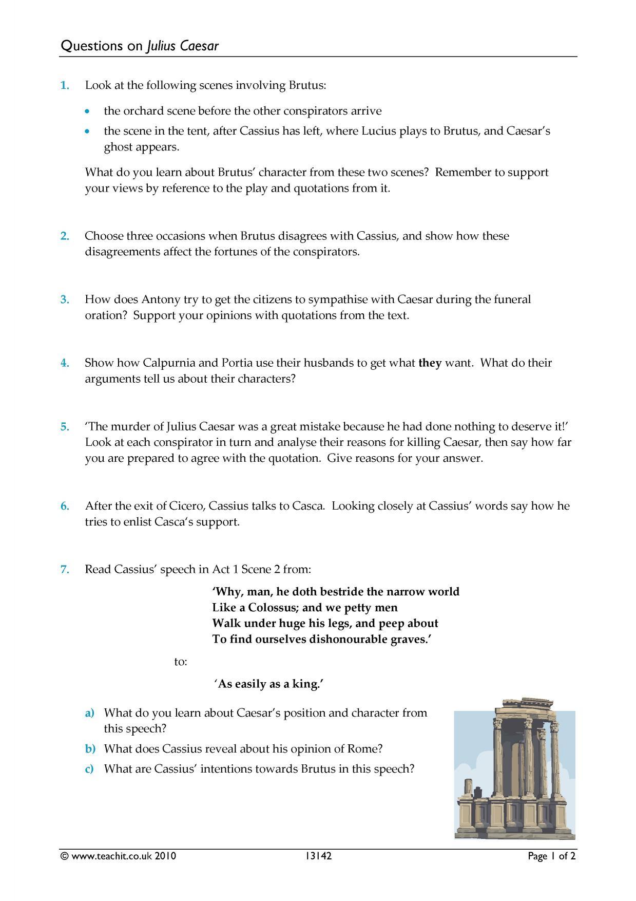 Questions On Julius Caesar