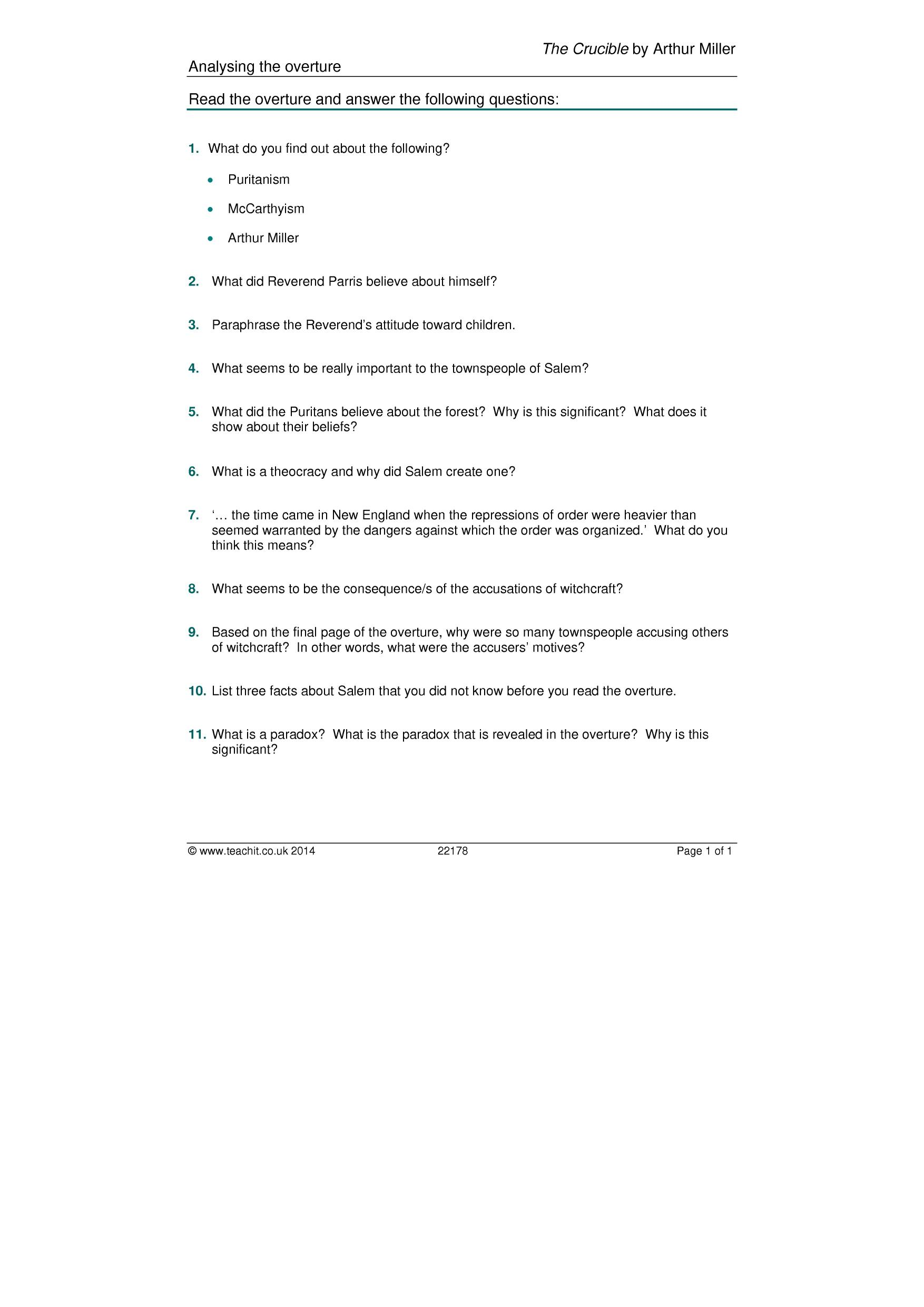 The Crucible Act 2 Worksheet Answers