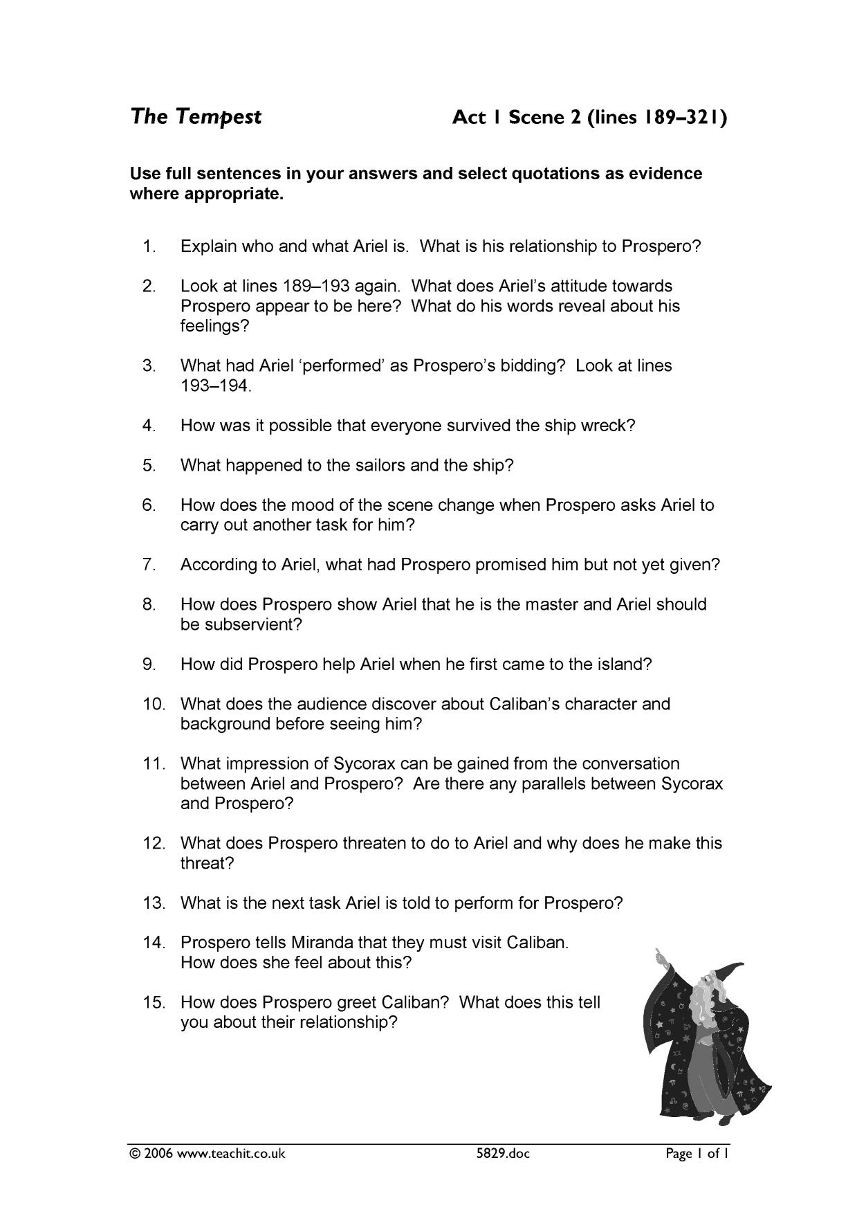 Act 1 Scene 2 Comprehension Questions