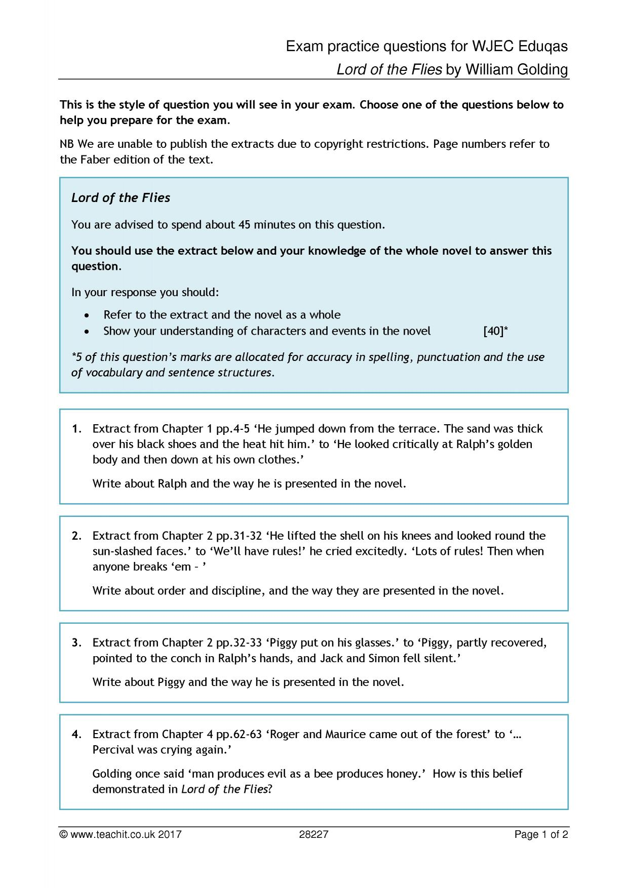 Vocabulary Worksheet 2 Lord Of The Flies