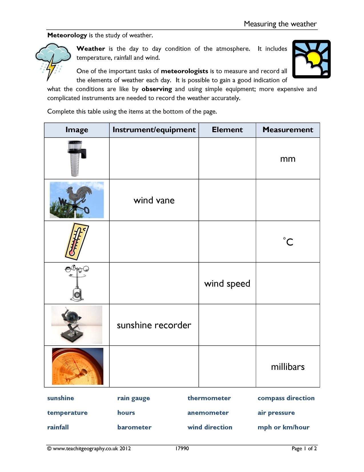 Worksheet Weather Instruments Worksheet Grass Fedjp Worksheet Study Site