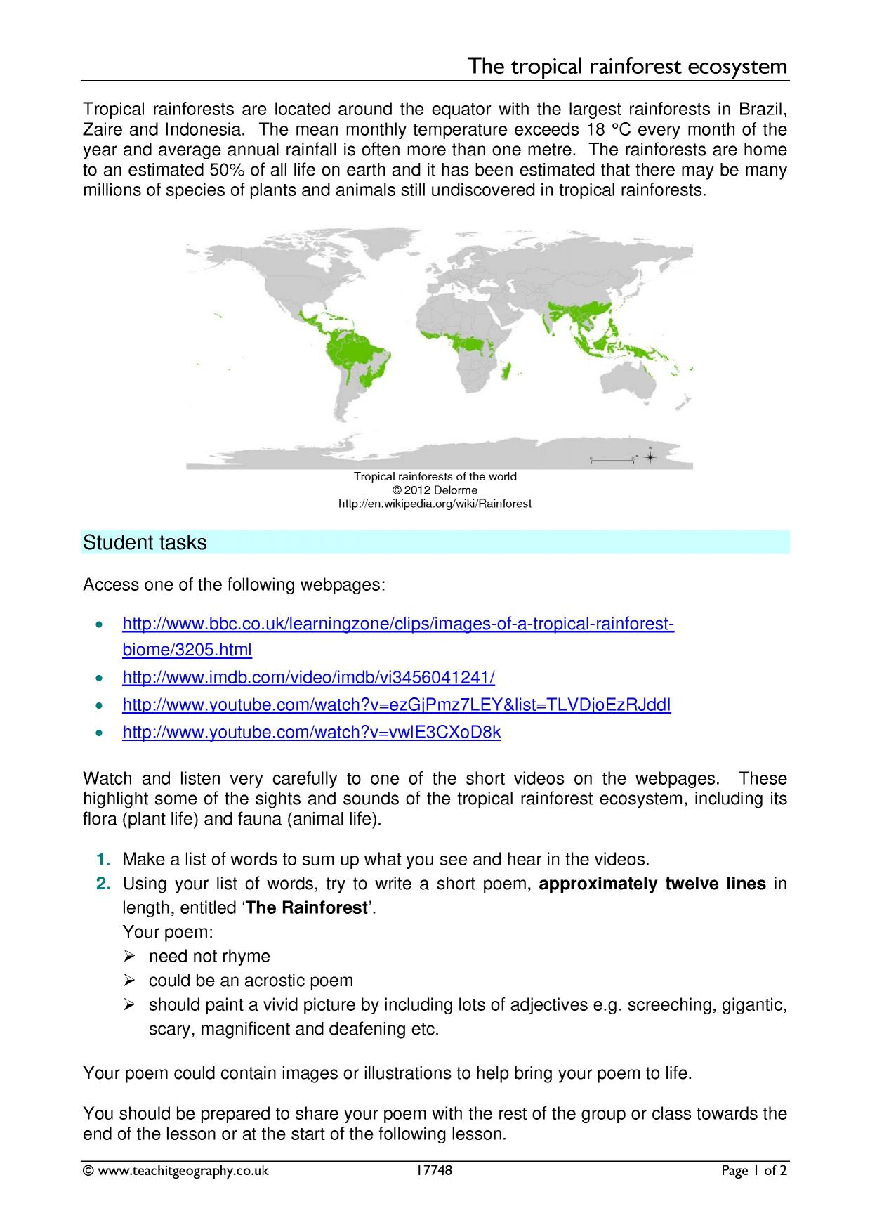 Skills Worksheet Introduction To Ecosystems
