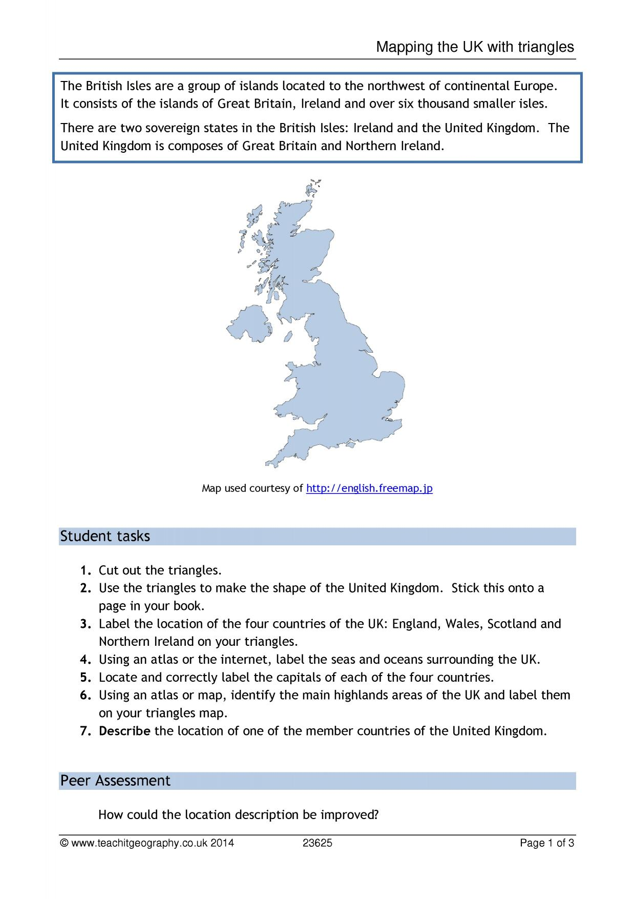 World Map Worksheet Ks3