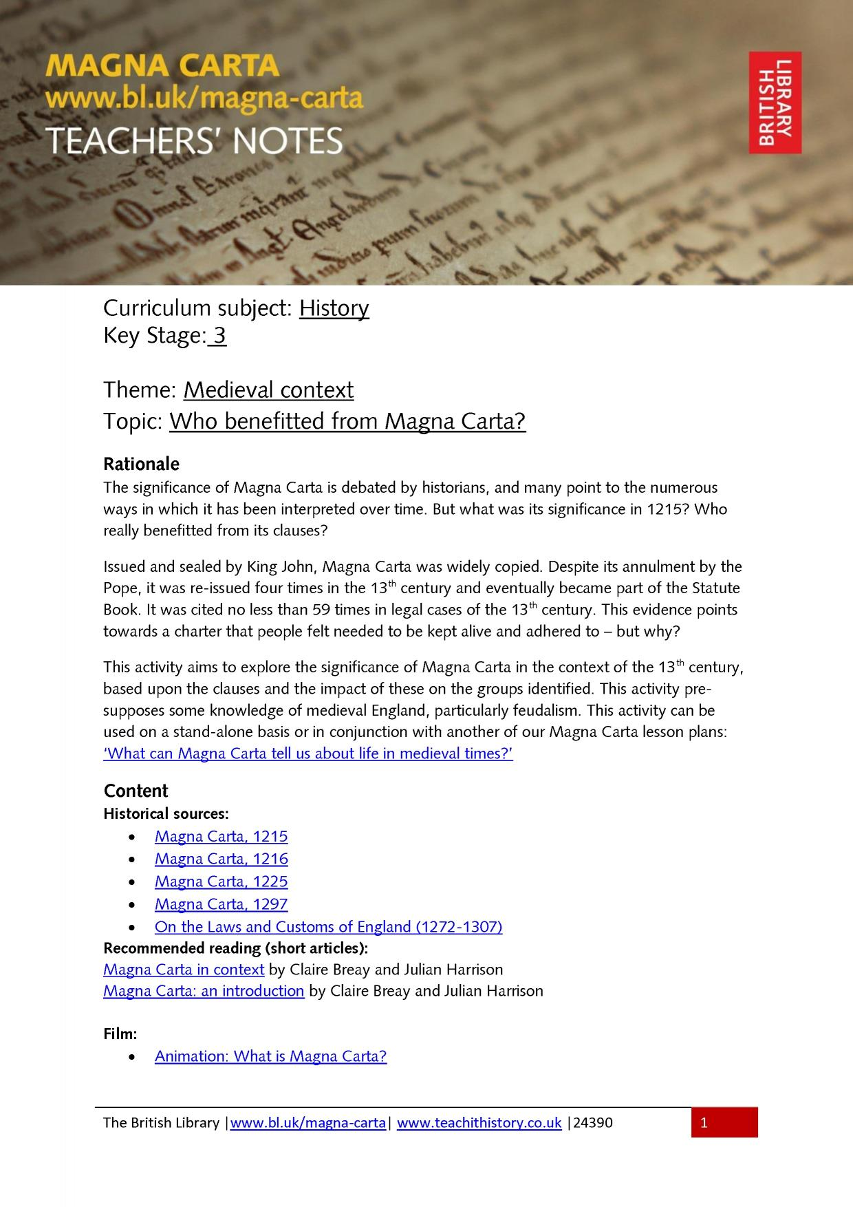 British Library Magna Carta Resources