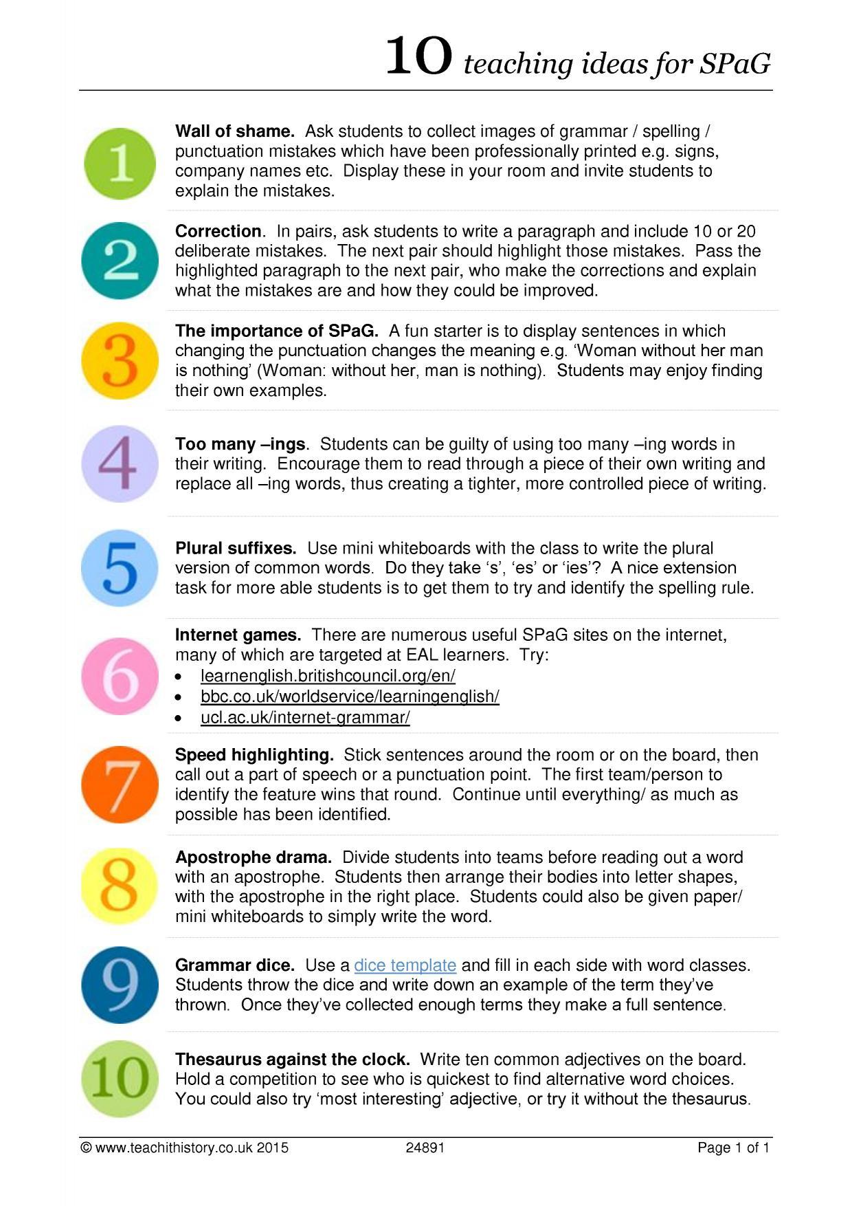 10 Teaching Ideas For Spag