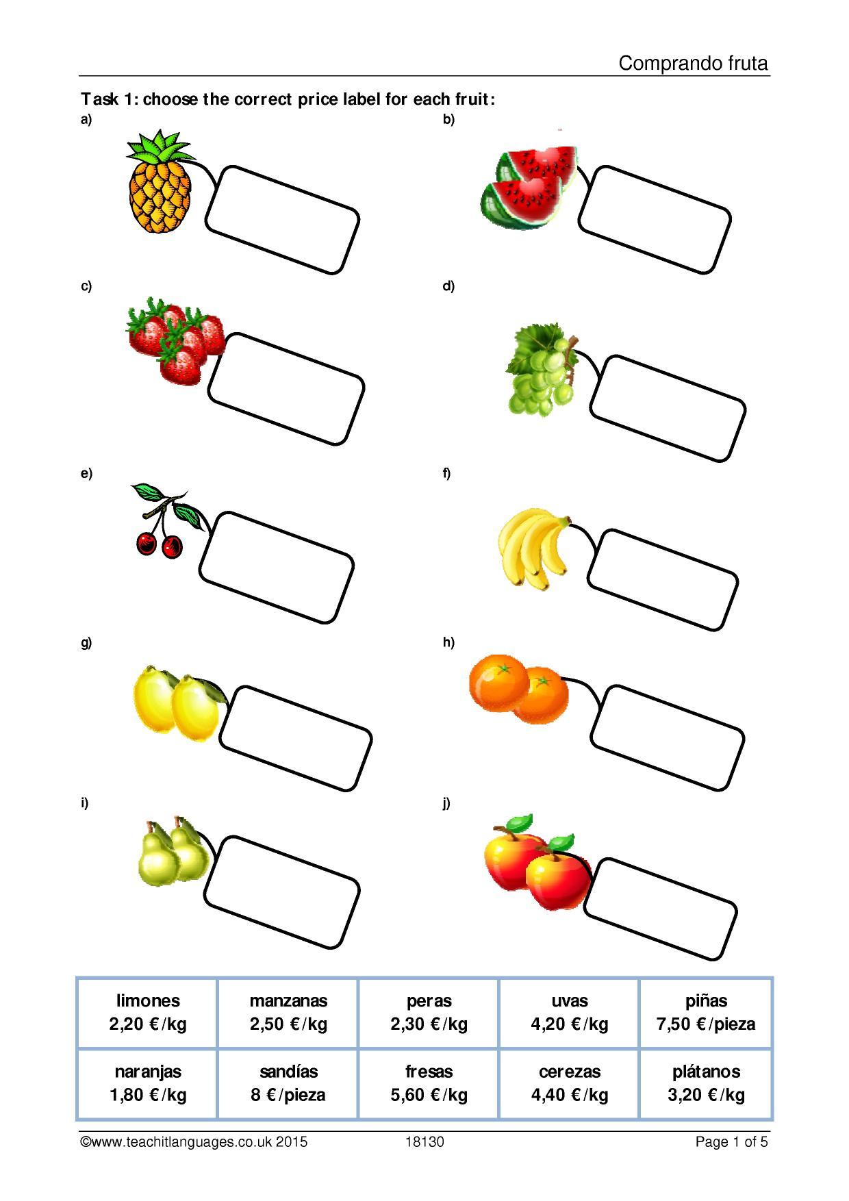 Spanish Frutas Worksheet