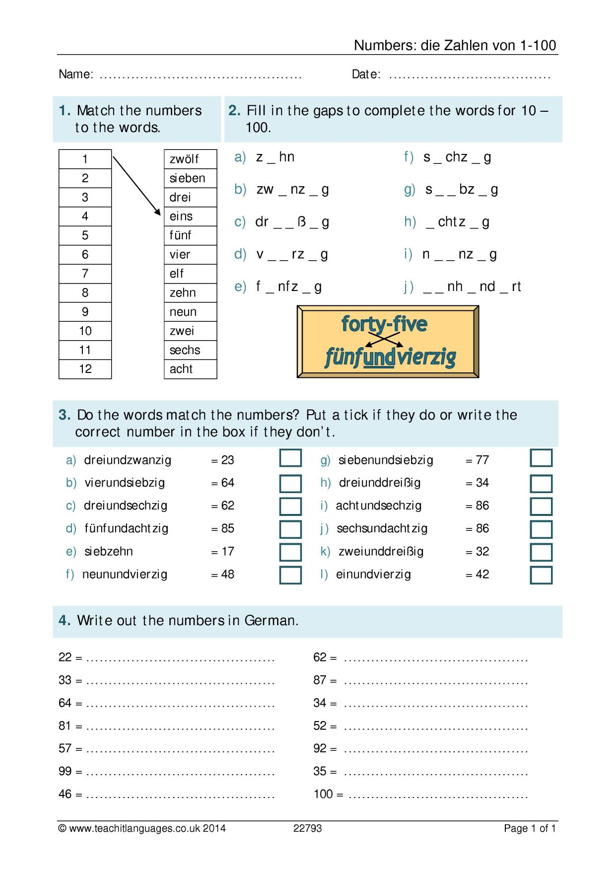 Beginner Language German Worksheet