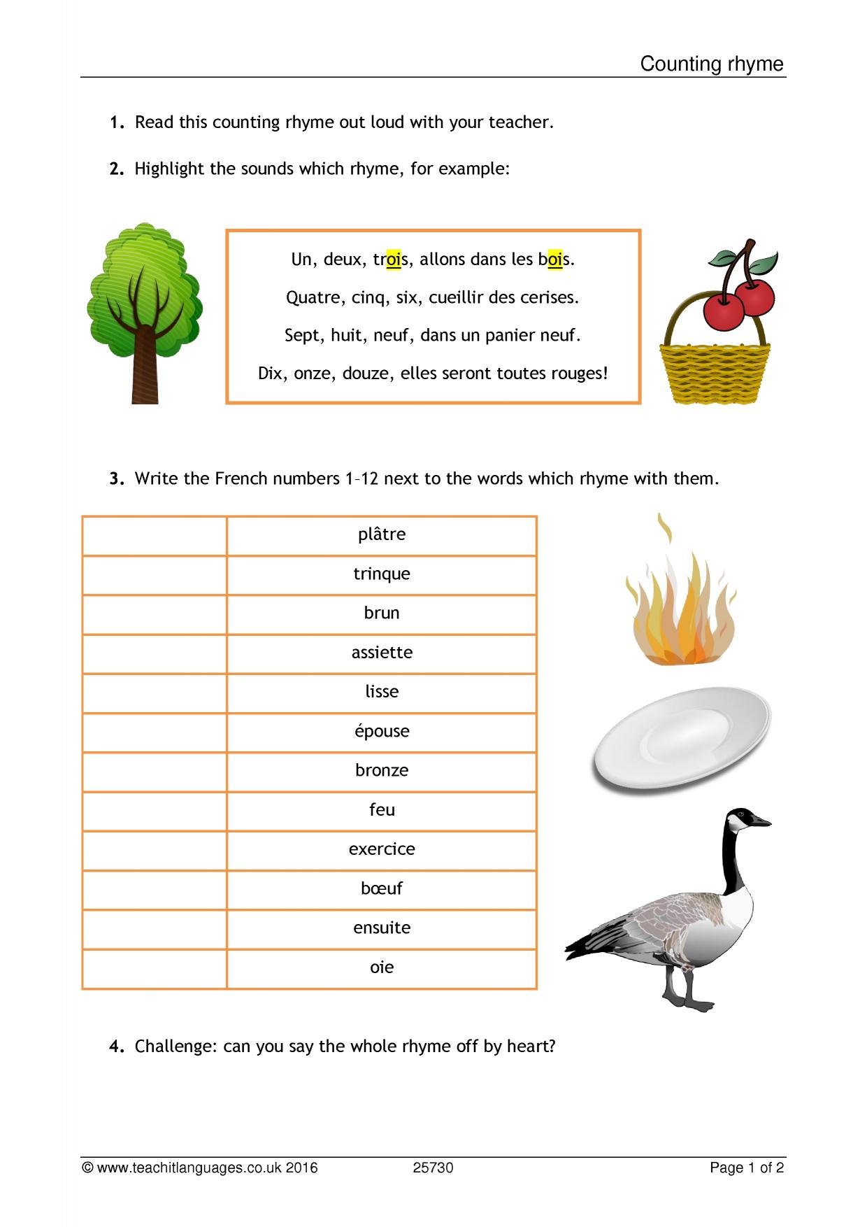 French Reading Comprehension Worksheets Ks3