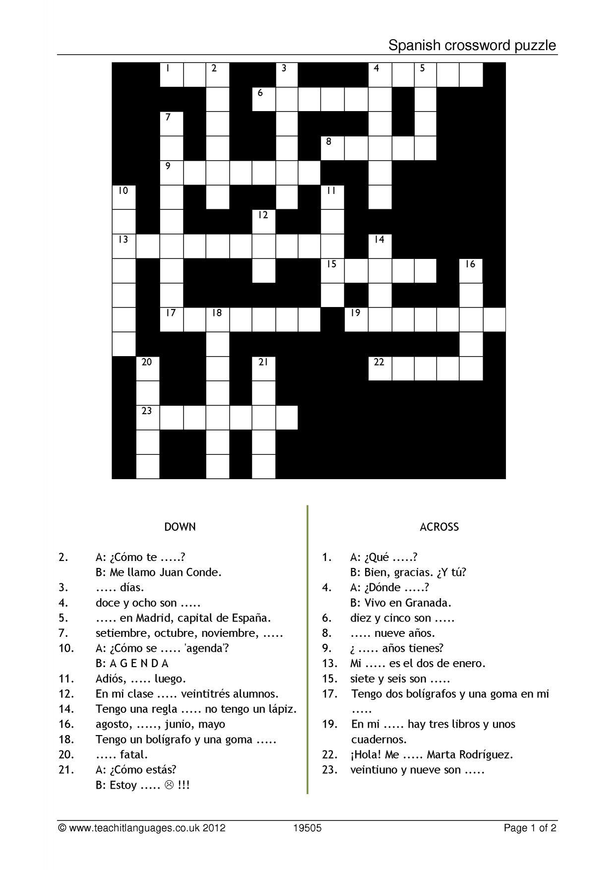 Spanish Crossword Puzzle