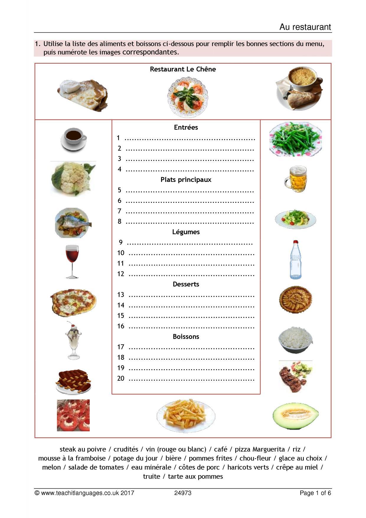 Les Fruits Et Les Legumes Worksheet