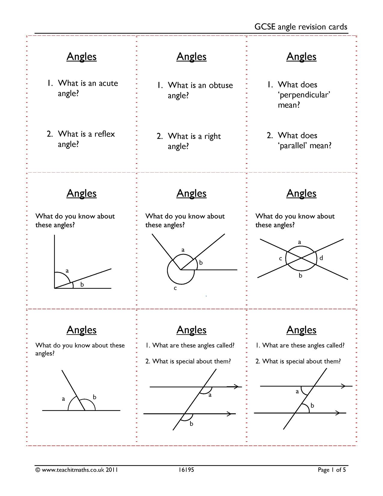 Worksheet On Calculating Angles