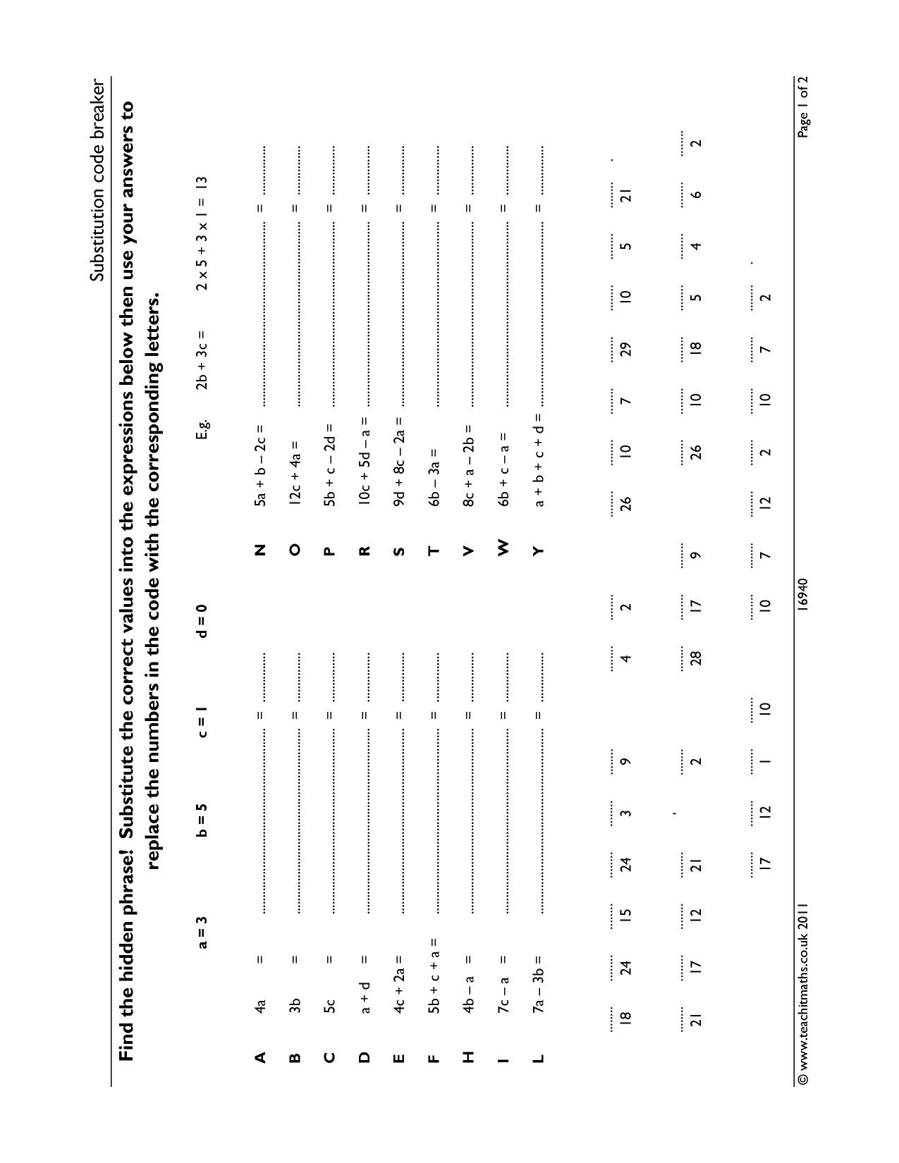 Crack The Code Math Worksheet