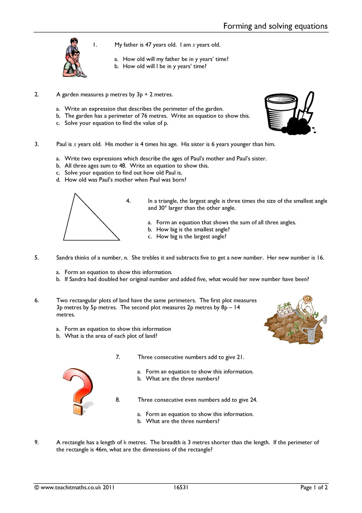 Forming And Solving Equations Worksheet