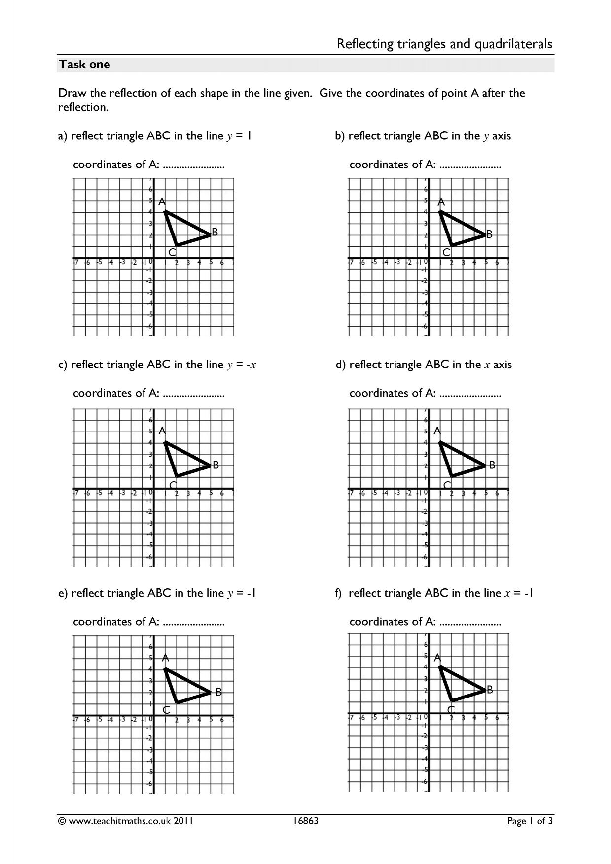 Diagonal Reflections Worksheet