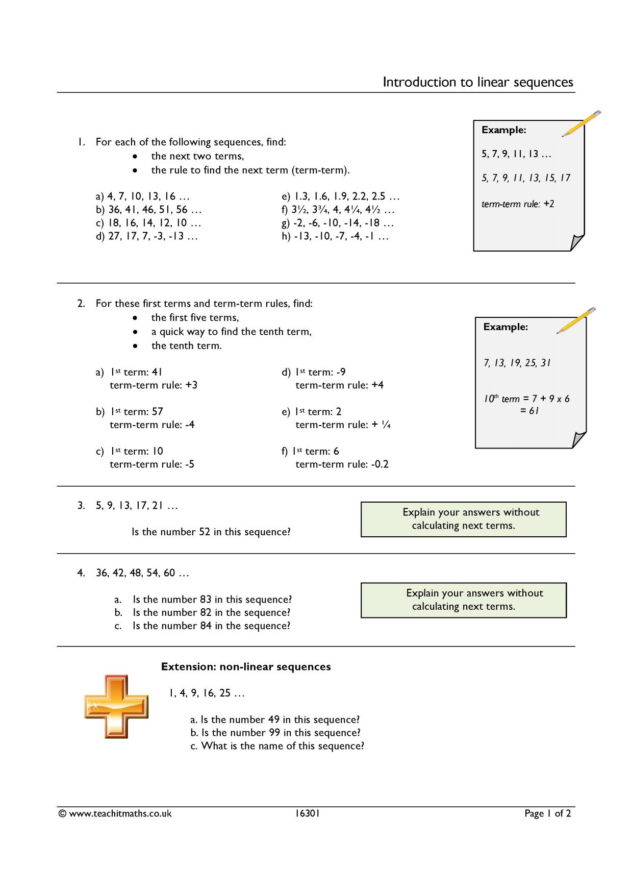 Nth Term Rule Of A Sequence Resources Tes Algebra 5