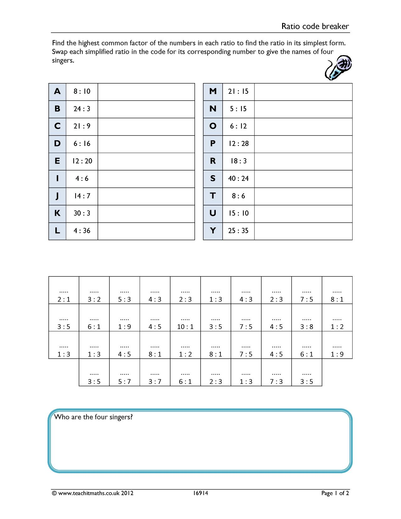 Multiplication Code Breaker Worksheets
