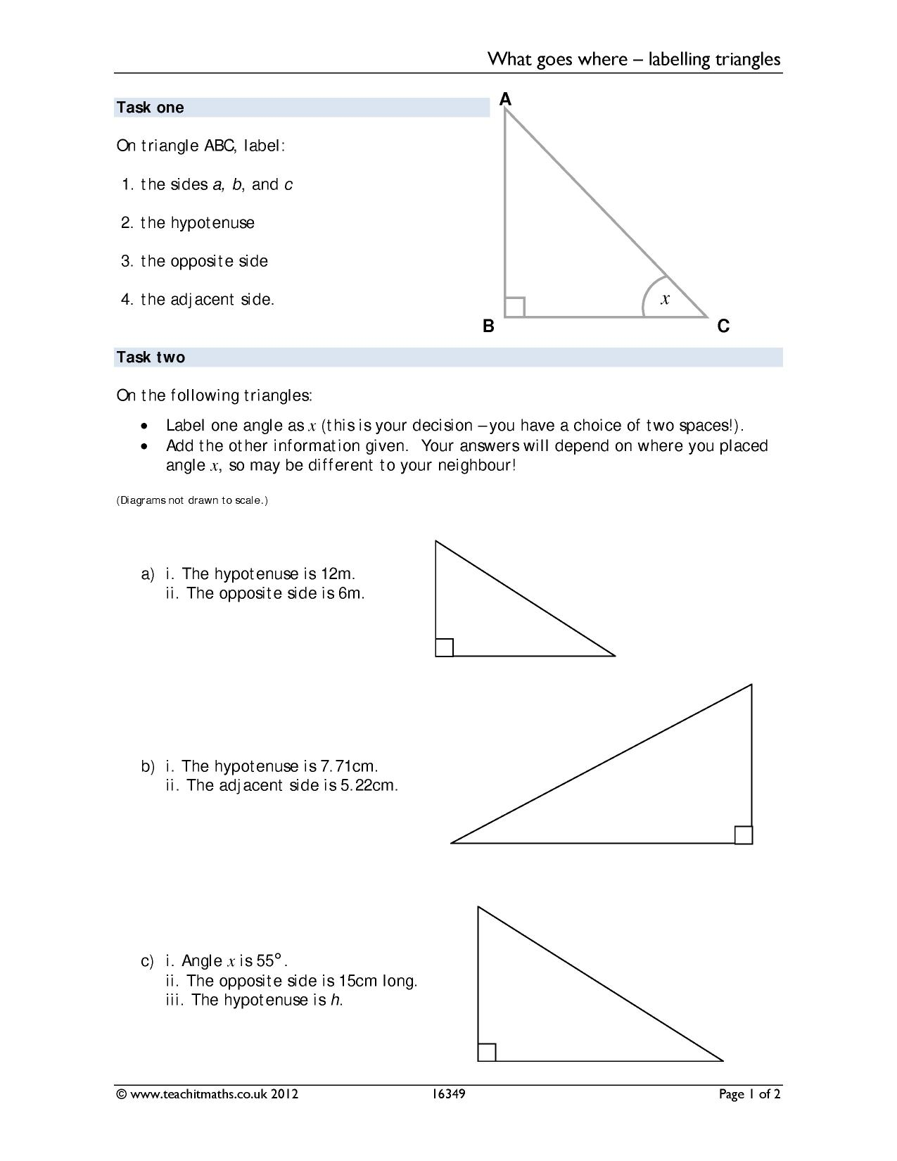 Labeling Angles Worksheet
