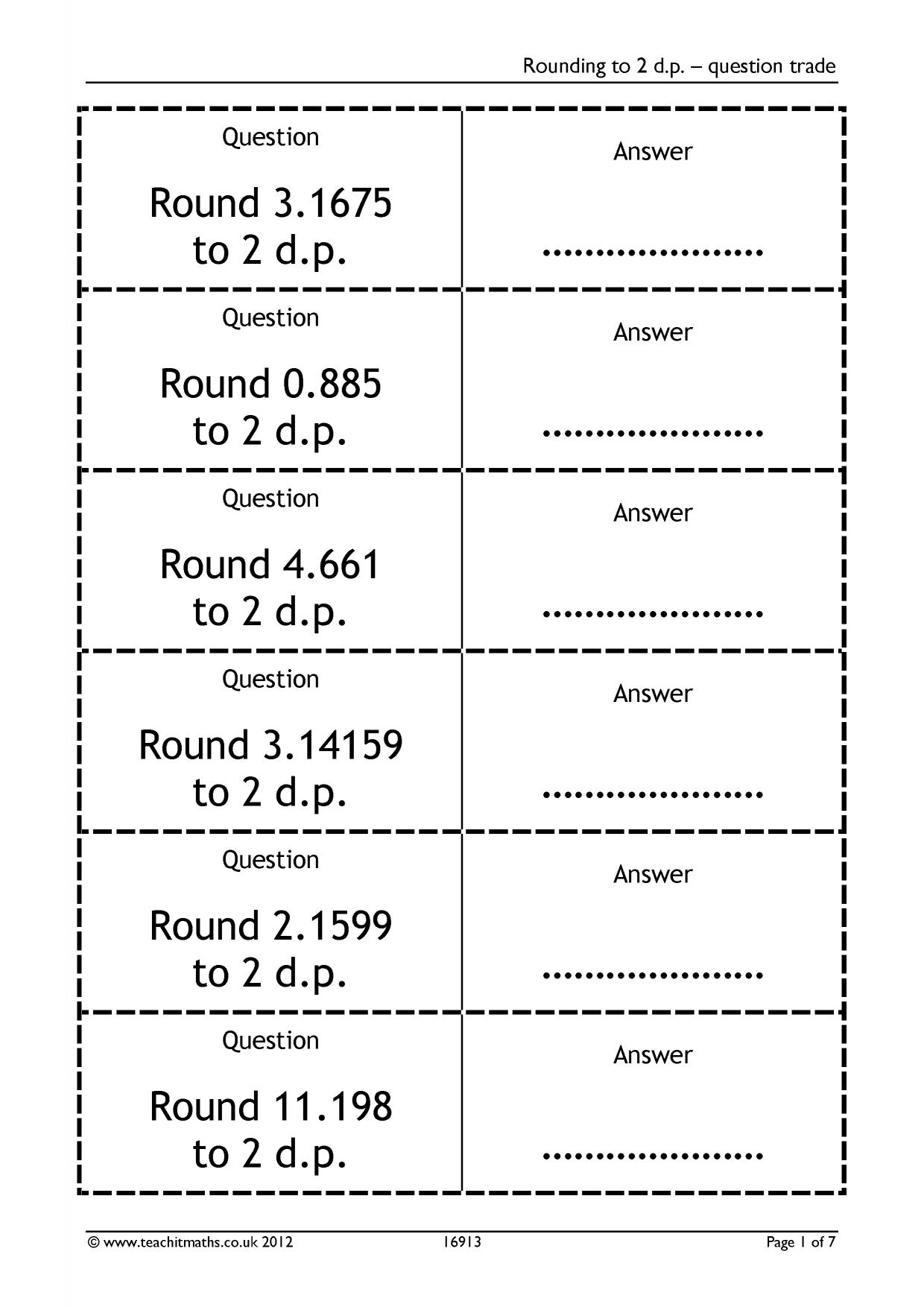 Rounding Decimal Places Ks3