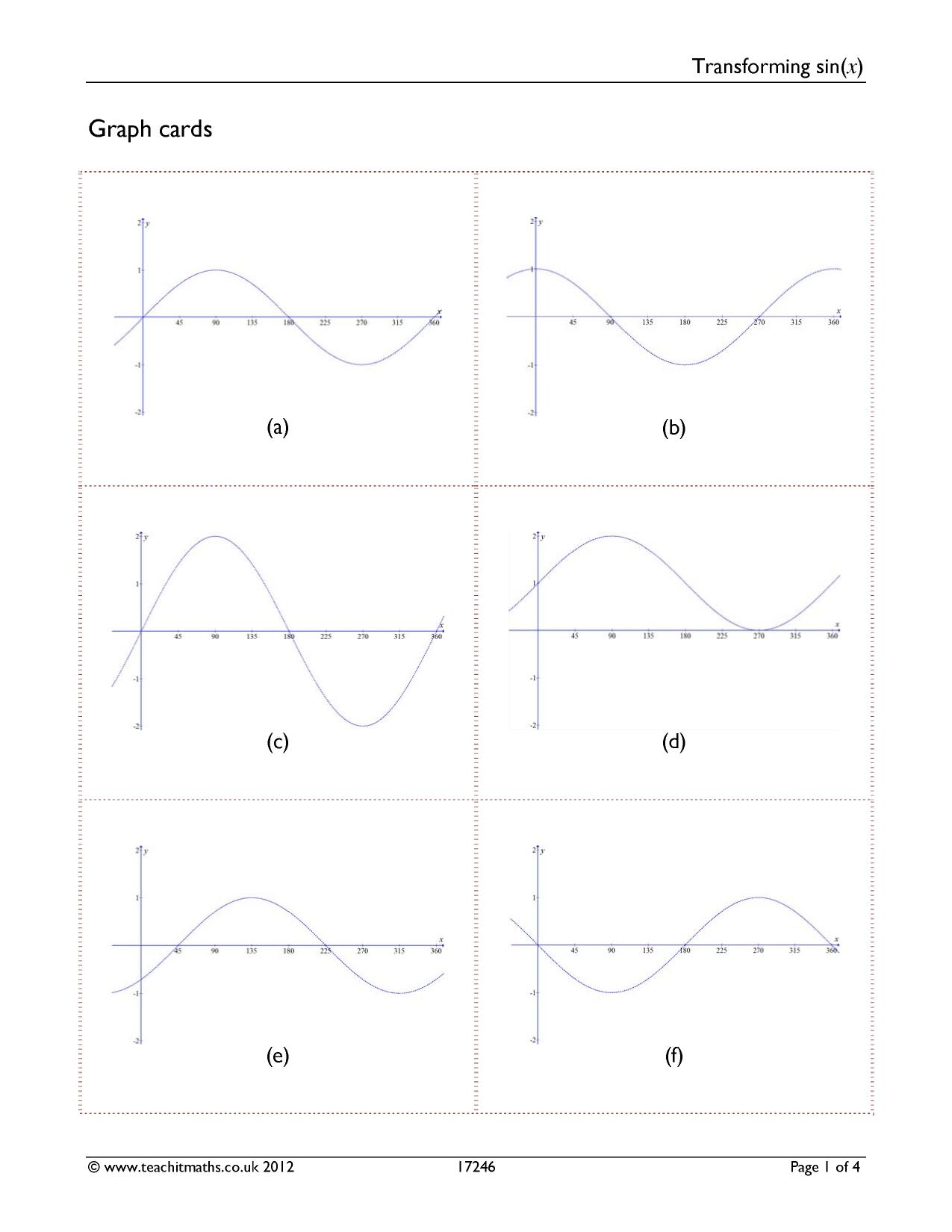 Match Equation To Graph Worksheet