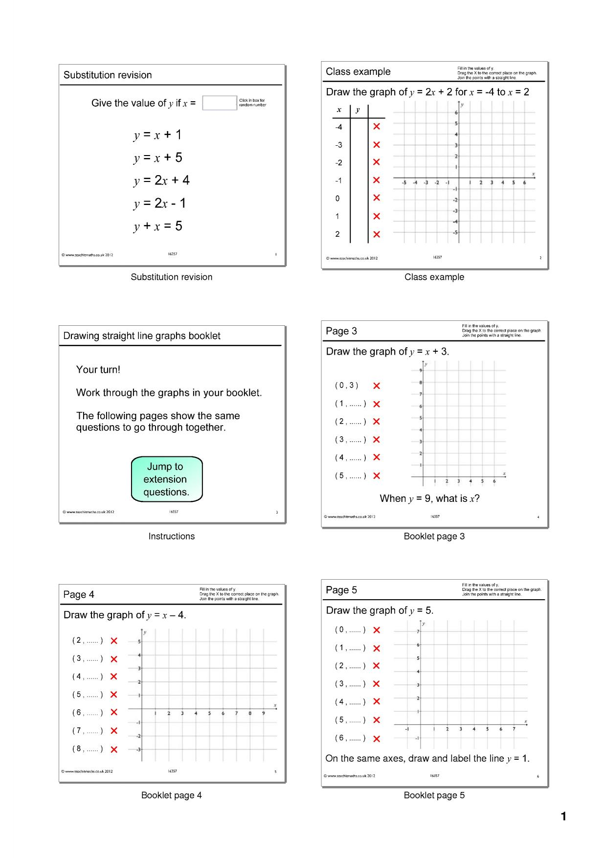 Drawing Straight Line Graphs Booklet