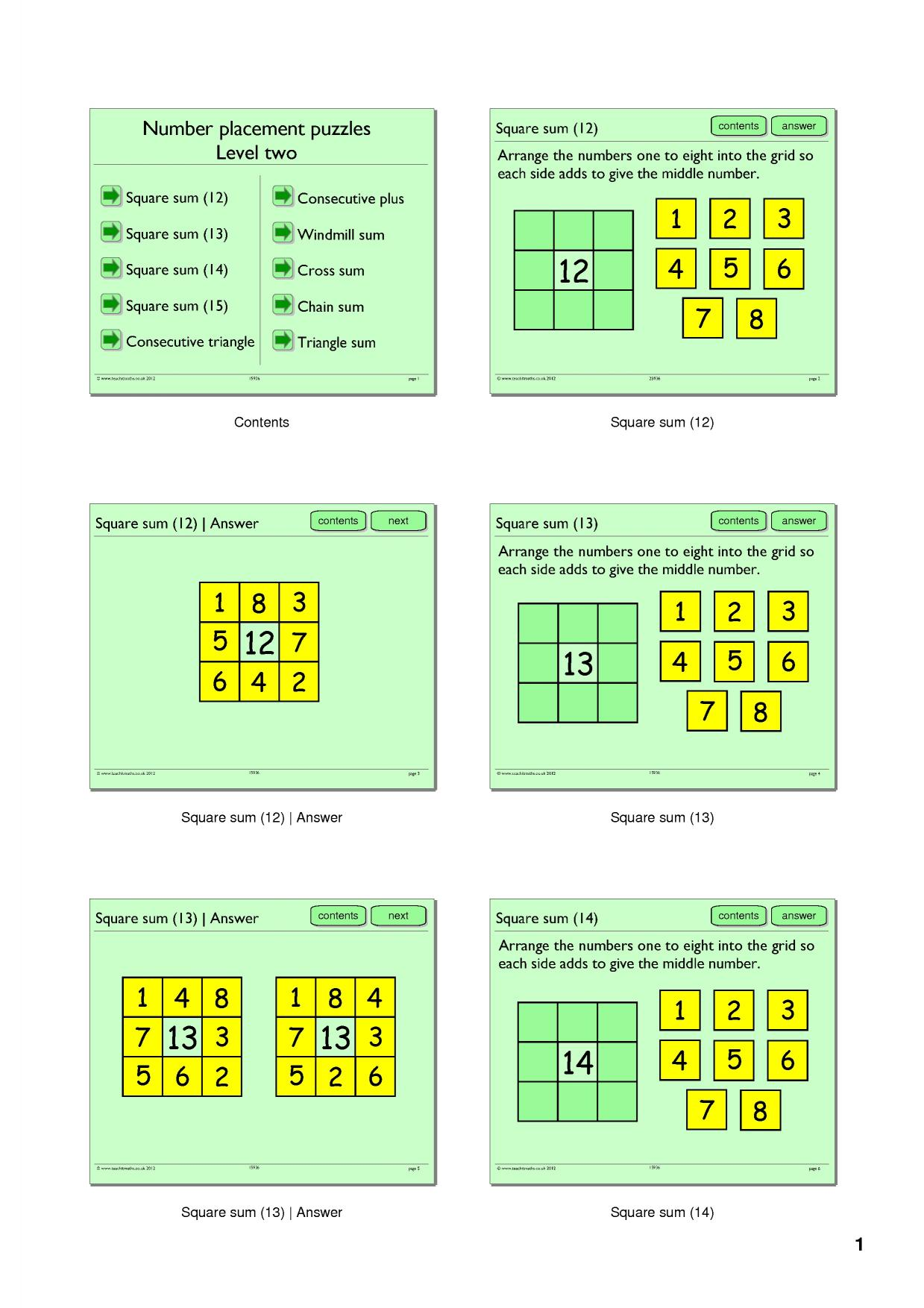 Number Placement Puzzles