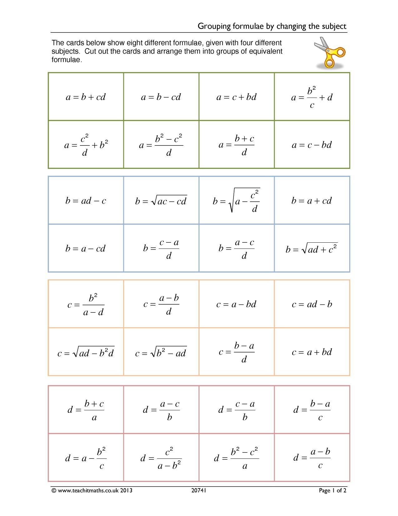 Grouping Formulae By Changing The Subject